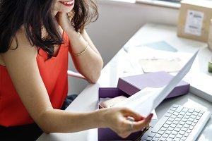 Woman is enjoying online shopping