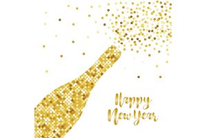 Festive luxury banner Happy New Year with glamour golden glitter confetti
