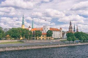 Riga embankment on a summer day