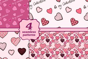 4 seamless Valentine's day patterns