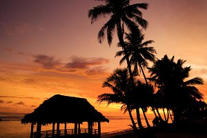 Sunset at a beach in Samoa