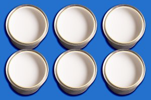 Cans with white paint