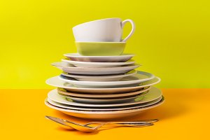 Stack of plates, dishware