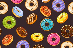 Seamless pattern with glaze donuts