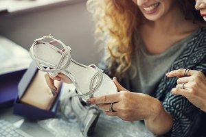 Women are enjoying online shopping