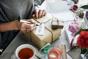Woman Writing Card Gift