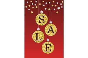 Festive luxury banner SALE with glamour golden glitter confetti