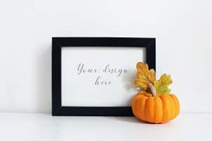 Styled frame mockup - autumn pumpkin