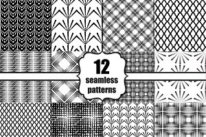 12 seamless black and white patterns