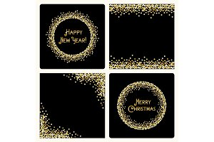 Set of festive luxury card templates with glamour golden glitter confetti