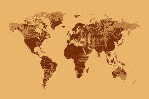 World map grunge brown JPG
