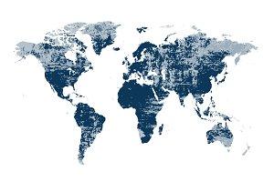 World map grunge blue color JPG