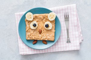 Peanut butter toast in shape of owl for kids healthy meal