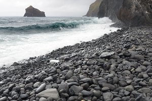 beach of black stones