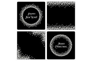 Set of festive luxury card templates with glamour silver glitter confetti
