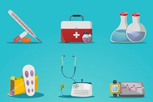 Medicine And Treatment Icon Set