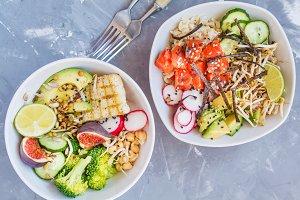 buddha salad bowls, ahi poke