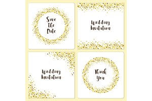 Set of luxury wedding card templates with golden glitter confetti