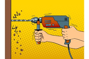 Hands drilling wall with rock drill pop art vector