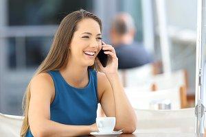 Single woman having a phone call