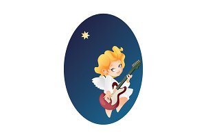 Kid angel musician guitarist flying on a night sky making music