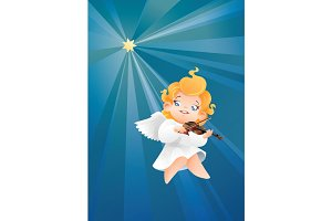 Smilyng flying on a night sky kid angel musician violinist play