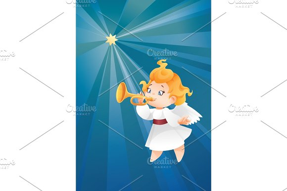 Kid Angel Musician Flying On A Night Sky Making Fanfare Call