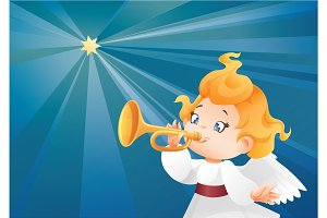 Kid angel musician  flying on a night sky, making fanfare call
