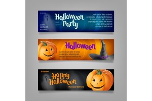 Three Halloween banners. Vector.