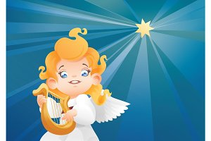 Kid angel musician harpist flying on a night sky making music on harp to a Christmas star