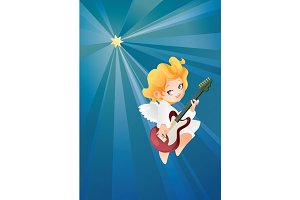 Kid angel musician guitarist flying on a night sky making music on guitar to Christmas star.