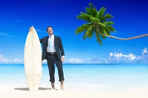 Businessman on vacation at a beach