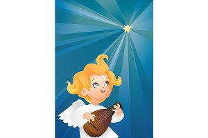 luteist angel musician flying on a night sky making music on lute to a Christmas star