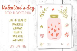 Valentine design elements pack