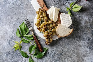 Cheese and grapes.