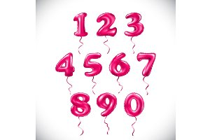 vector pink number balloon