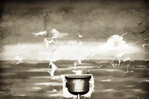 Vintage water tank illustration background