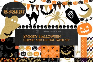 Halloween Clipart+Pattern set