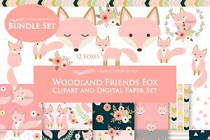 Pink Fox Clipart+Pattern