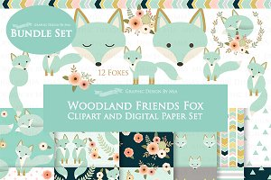 Mint Fox Clipart+Pattern