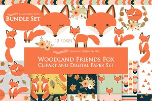 Red Fox Clipart+Pattern