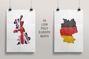 46 Low-Poly European Maps/FLags
