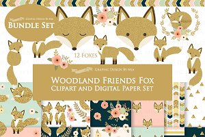 Glitter Gold Fox Clipart+Pattern
