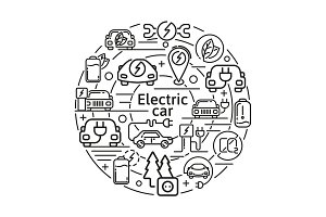 Electric car linear vector icons concept. Eco energy elements in thin line design.