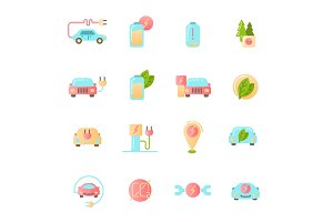 Electric Car icons set. Colored material design signs.