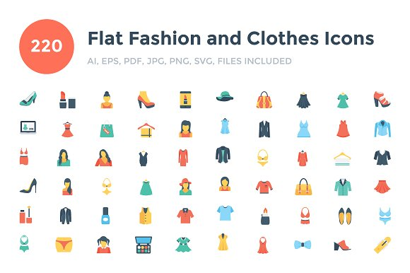 220 Flat Fashion And Clothes Icons