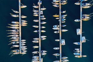 Aerial view of amazing boats at sunset in Marmaris, Turkey