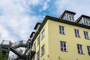 Low angle view of residential building in Munich