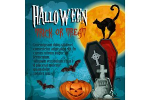 Halloween holiday night trick treat vector poster