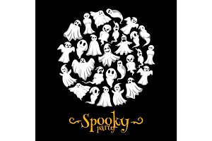 Halloween vector spooky party ghost poster